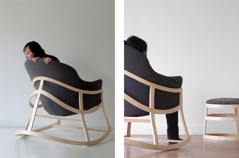 Chaise Bascule Dancing Chair De Constance GUISSET La Structure Graphique En Rubans Lattes Bois Dlimite Un Volume Ample Et Lger Sur Lequel