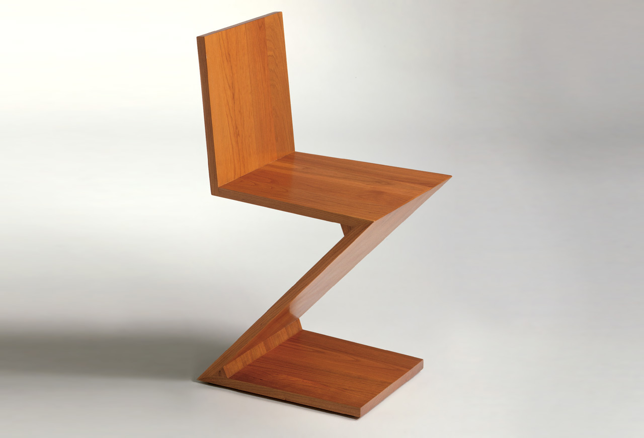 zig zag chair by gerrit thomas rietveld koursi. Black Bedroom Furniture Sets. Home Design Ideas